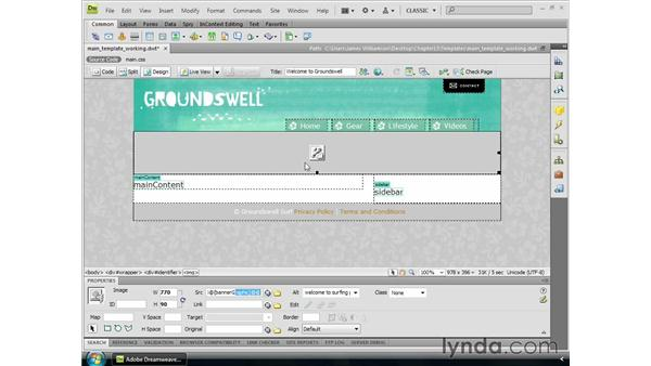 Creating editable attributes: Dreamweaver CS4 Essential Training