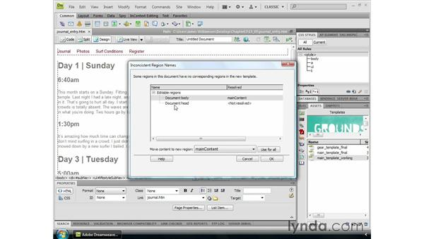 Applying templates to existing pages: Dreamweaver CS4 Essential Training