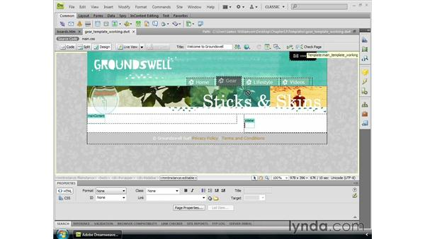 Working with nested templates: Dreamweaver CS4 Essential Training