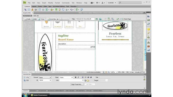 Working with repeating regions: Dreamweaver CS4 Essential Training