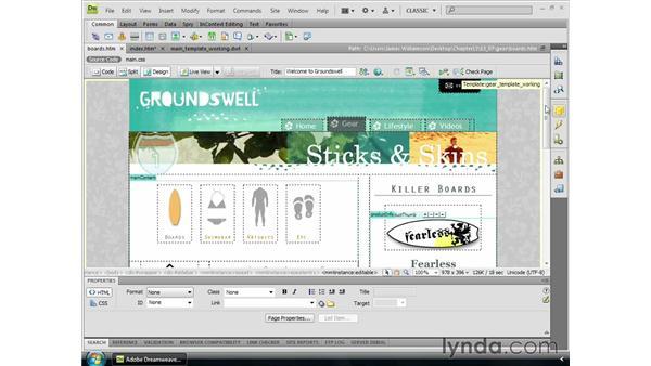 Modifying templates: Dreamweaver CS4 Essential Training