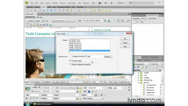 Creating disjointed rollovers: Dreamweaver CS4 Essential Training