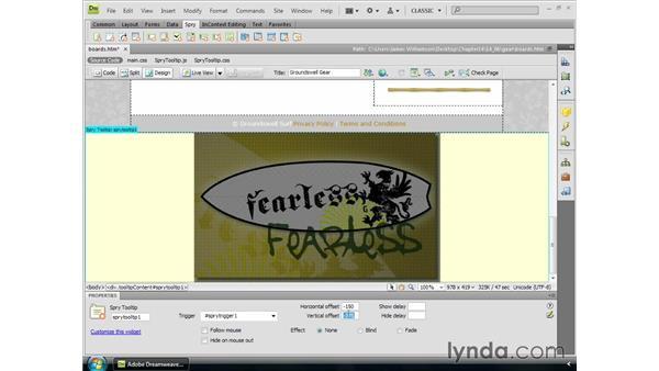 Using Spry widgets: Dreamweaver CS4 Essential Training