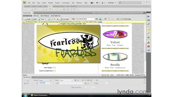 Using Live View and Related Files: Dreamweaver CS4 Essential Training