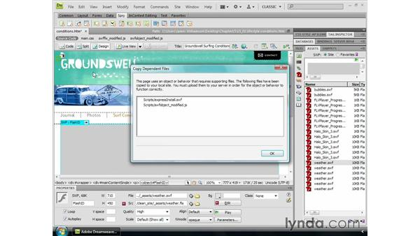 Inserting Flash files: Dreamweaver CS4 Essential Training
