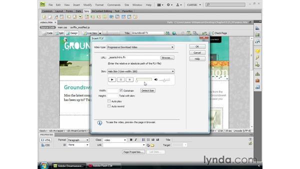 Adding Flash video: Dreamweaver CS4 Essential Training