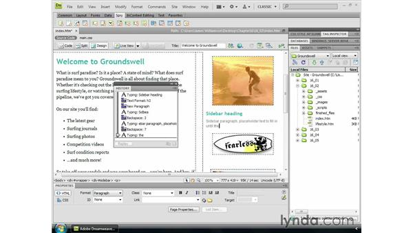 Saving history steps with commands: Dreamweaver CS4 Essential Training
