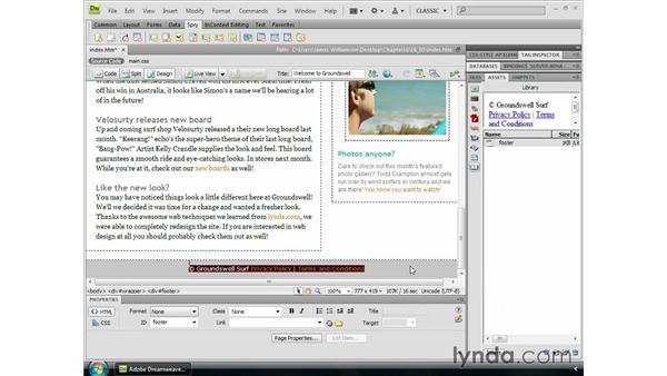 Creating library items: Dreamweaver CS4 Essential Training
