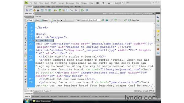 The Code toolbar: Dreamweaver CS4 Essential Training