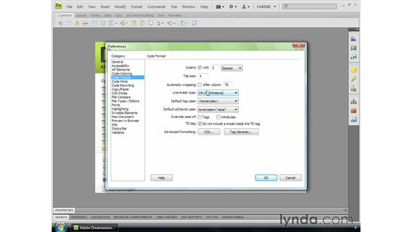 Setting code preferences: Dreamweaver CS4 Essential Training