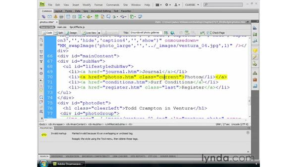 Finding syntax errors: Dreamweaver CS4 Essential Training
