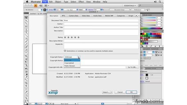 Adding XMP metadata: Illustrator CS4 Essential Training