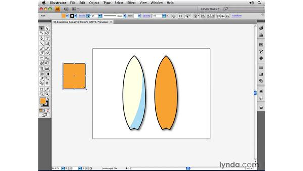 Utilizing the bounding box: Illustrator CS4 Essential Training