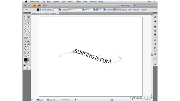 Creating text on open paths: Illustrator CS4 Essential Training