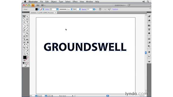 Converting text to outlines: Illustrator CS4 Essential Training