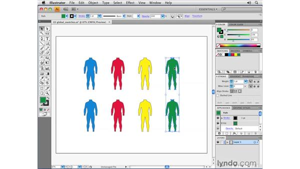 Creating global process swatches: Illustrator CS4 Essential Training