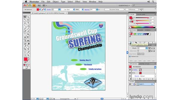 Creating swatch groups and libraries: Illustrator CS4 Essential Training