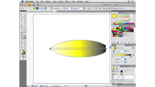 Working with linear gradient fills: Illustrator CS4 Essential Training