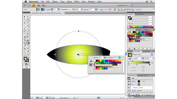 Working with radial gradient fills: Illustrator CS4 Essential Training