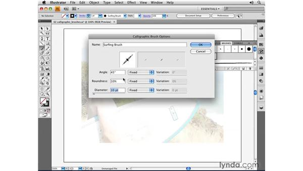 Using the Calligraphic brush: Illustrator CS4 Essential Training