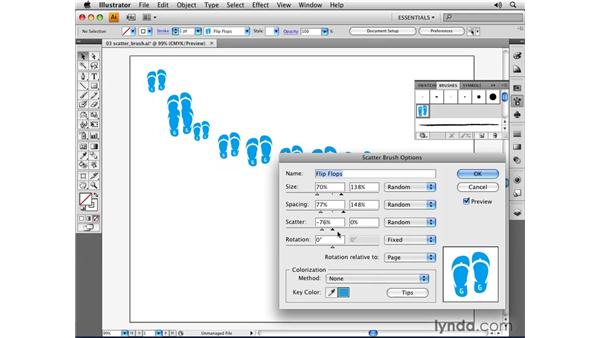 Using the Scatter brush: Illustrator CS4 Essential Training