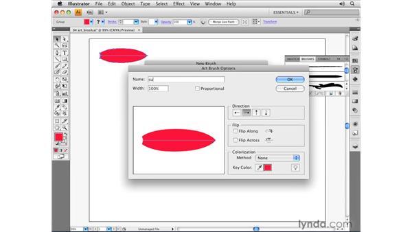 Using the Art brush: Illustrator CS4 Essential Training