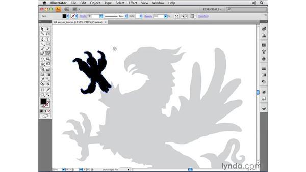 Using the Eraser tool: Illustrator CS4 Essential Training