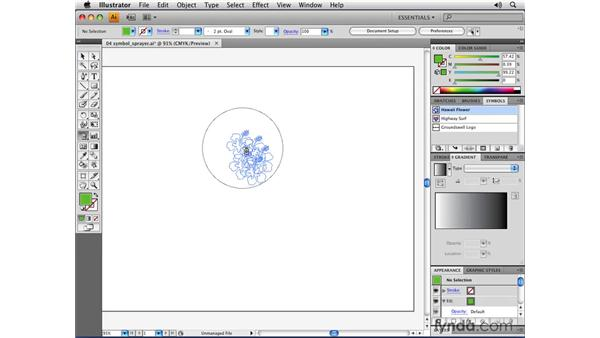 Using the Symbol Sprayer tool: Illustrator CS4 Essential Training