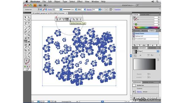 Using the Symbolism toolset: Illustrator CS4 Essential Training