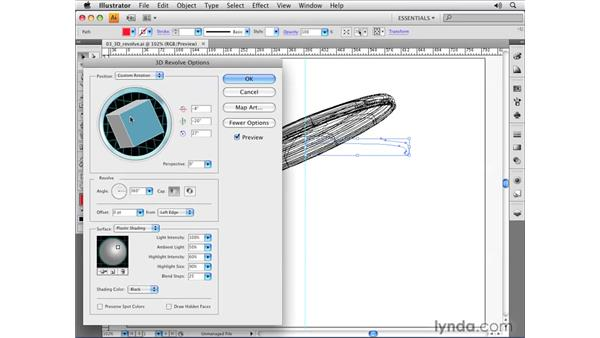 Applying basic 3D revolves: Illustrator CS4 Essential Training