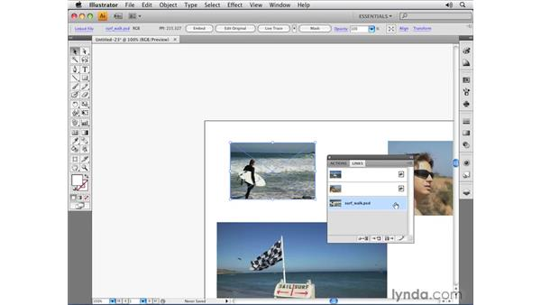 Using the Links panel: Illustrator CS4 Essential Training