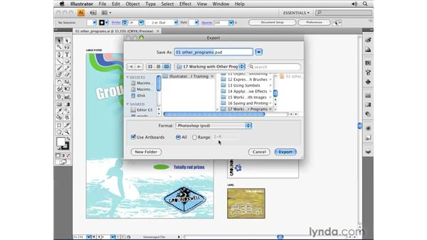 Exporting files for use in Photoshop: Illustrator CS4 Essential Training