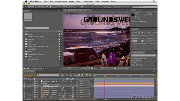 Previewing animations: After Effects CS4 Getting Started