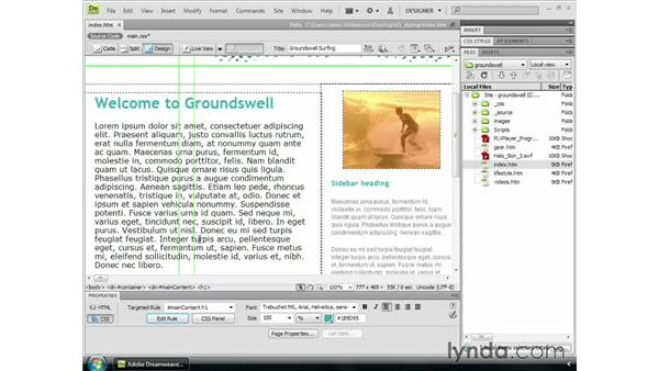 Styling text: Dreamweaver CS4 Getting Started