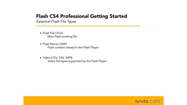 Understanding different Flash file types: Flash CS4 Professional Getting Started