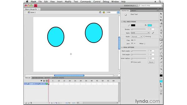 Understanding object and merge drawing: Flash CS4 Professional Getting Started