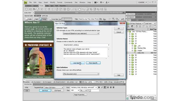 Editing CSS through the Property inspector: Dreamweaver CS4 New Features