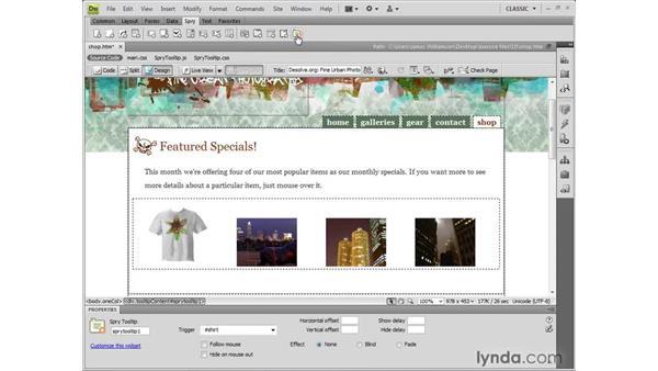 Understanding the Spry Tooltip widget: Dreamweaver CS4 New Features