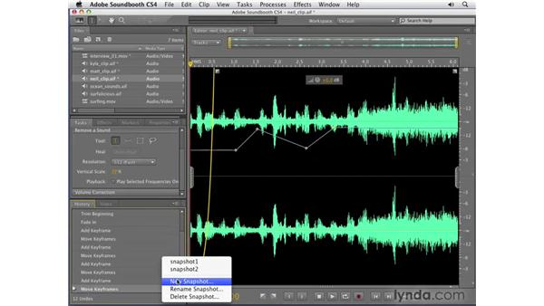 The History panel and Snapshot tool: Soundbooth CS4 Getting Started