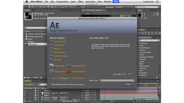 The new Welcome screen: After Effects CS4 New Features