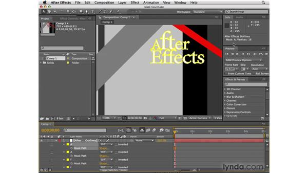 Mask vertex counter: After Effects CS4 New Features