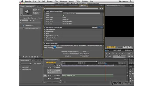 Importing Speech Search data: After Effects CS4 New Features