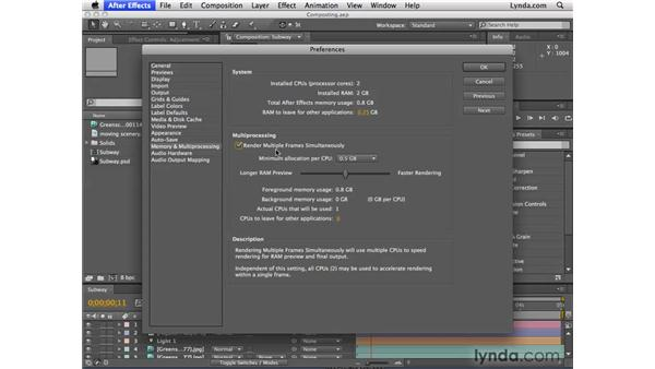 Improved multicore processor settings: After Effects CS4 New Features