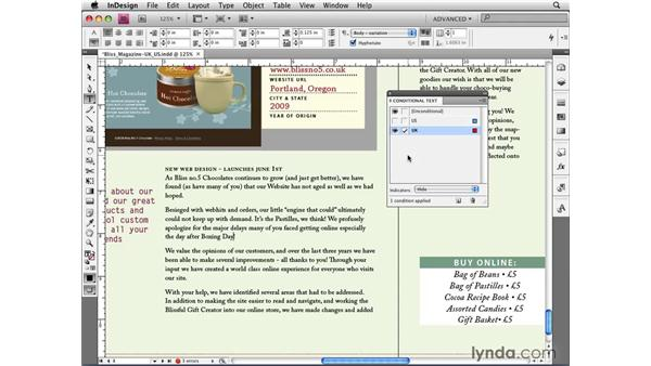 Developing multipurpose layouts with conditional text : InDesign CS4 New Features