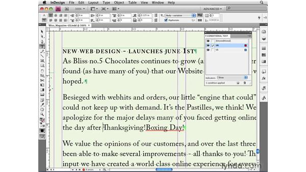 Creating conditions and applying them to text: InDesign CS4 New Features