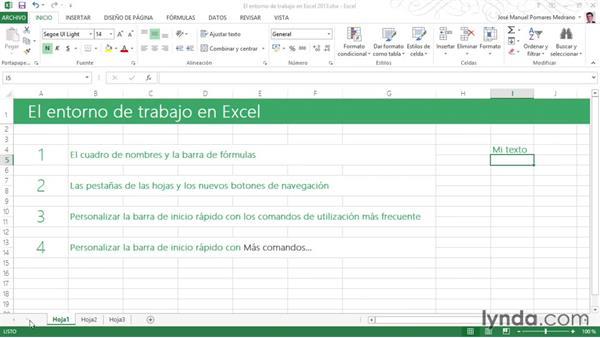 El Entorno De Trabajo En Excel 2013