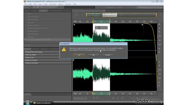Using the History panel and snapshots: Soundbooth CS4 Essential Training