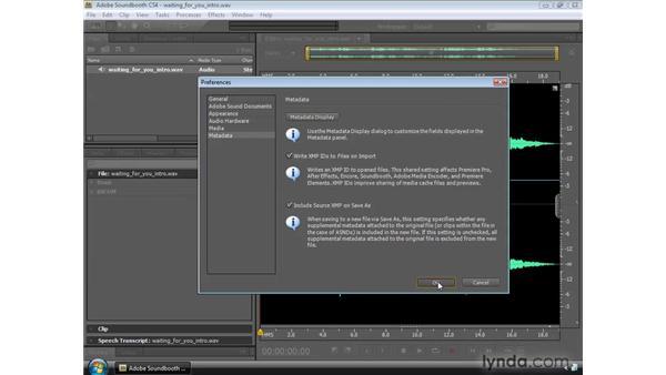 Using the Metadata and Properties panels: Soundbooth CS4 Essential Training