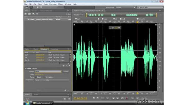 Using the Markers panel: Soundbooth CS4 Essential Training