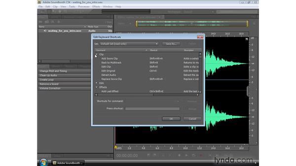 Using Soundbooth keyboard shortcuts: Soundbooth CS4 Essential Training